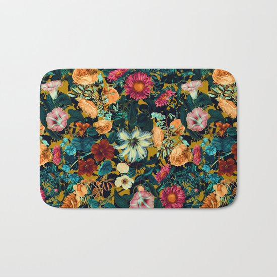 Floral Pattern Winter Garden Bath Mat