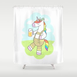 Unicorn Oktoberfest Shower Curtain