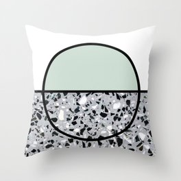 Minimal Modern Terrazzo Pattern Design Mint Green Throw Pillow