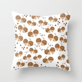 Hedgehogs in autumn Throw Pillow