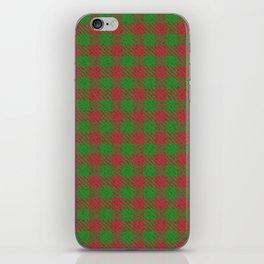 Accident, Medium Carmine on Forest Green Ungulate Plaid iPhone Skin