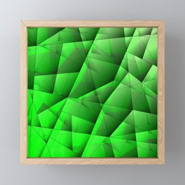 Abstract pattern of green and glowing plates of triangles and irregularly shaped lines. Framed Mini Art Print