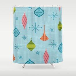 Mid Century Modern Christmas Ornaments Shower Curtain