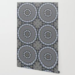 Greyscale abstract flowers in mandala Wallpaper