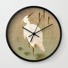White Heron in Bulrushes Wall Clock
