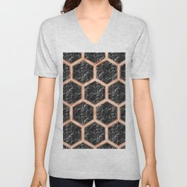 Black campari marble & copper honeycomb Unisex V-Neck