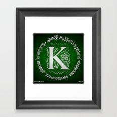 Joshua 24:15 - (Silver on Green) Monogram K Framed Art Print