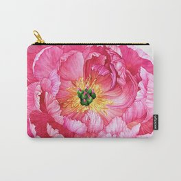Coral Peony Watercolour Carry-All Pouch