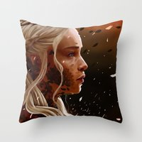mother of dragons Throw Pillows featuring Mother of dragons by cloudyh