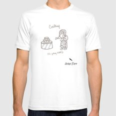 Cooking MEDIUM White Mens Fitted Tee