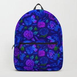 Watercolor Floral Garden in Electric Blue Bonnet Backpack