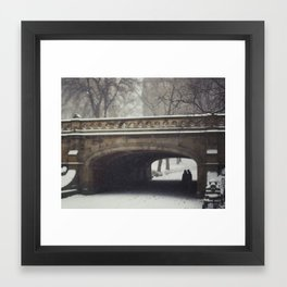 Couple in the Snow in Central Park Framed Art Print