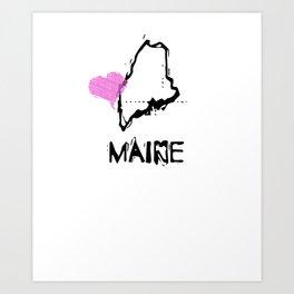 Love Maine State Sketch USA Art Design Art Print