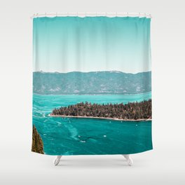 Even in the summer this lake looks like a frozen glass. Shower Curtain