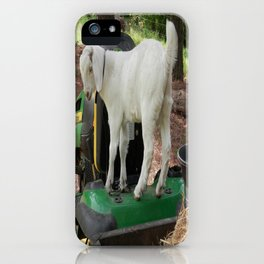Goat on Lawn Mower iPhone Case