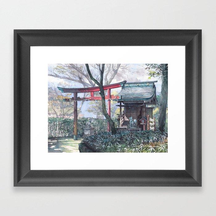 Shiratamainari shrine in watercolours Framed Art Print