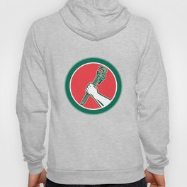 Hand Holding Adjustable Wrench Circle Woodcut Hoody