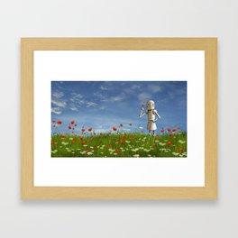 Robot in field of wildflowers Framed Art Print