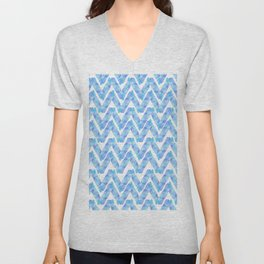 Abstract blue teal watercolor zigzag chevron pattern Unisex V-Neck