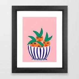Sassy Oranges In A Bowl Framed Art Print