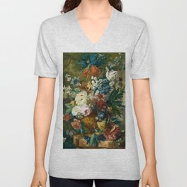 """Jan van-Huysum """"Flowers in a Vase with Crown Imperial and Apple Blossom"""" Unisex V-Neck"""