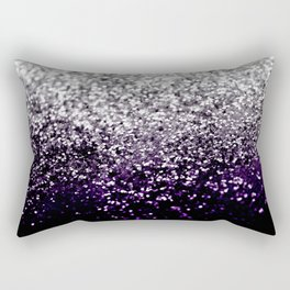 Dark Night Purple Black Silver Glitter #1 #shiny #decor #art #society6 Rectangular Pillow