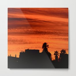Blood Orange Sunset Over Small Desert Town Metal Print