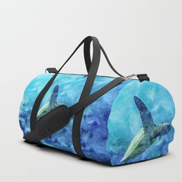 Sea Turtle Into The Deep Blue Duffle Bag