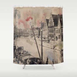 Ghent Painted Postcard Shower Curtain