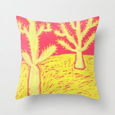 Yellow Cacti Throw Pillow
