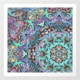 Aqua Swallows Art Print