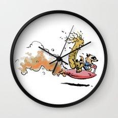Let's Go Exploring! (Rocket Raccoon & Groot & Calvin & Hobbes mashup) Wall Clock