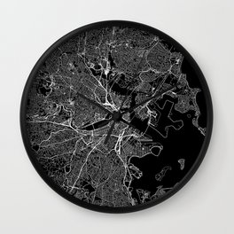 Boston Black Map Wall Clock