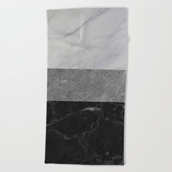 Marble - White, Grey, Black Beach Towel