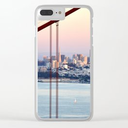 SAN FRANCISCO & GOLDEN GATE BRIDGE AT SUNSET Clear iPhone Case