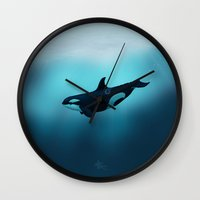 biology Wall Clocks featuring Lost in Serenity ~ Orca ~ Killer Whale by Amber Marine