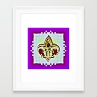 fleur de lis Framed Art Prints featuring Fleur De Lis Purple  by Tina Vaughn