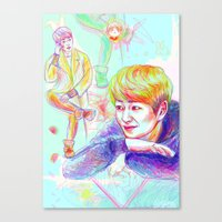 shinee Canvas Prints featuring SHINee Onew by sophillustration