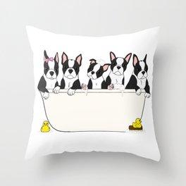 Boston Puppies in a Tub Throw Pillow
