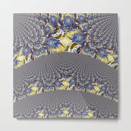 Blue Sunflower Curtain Metal Print