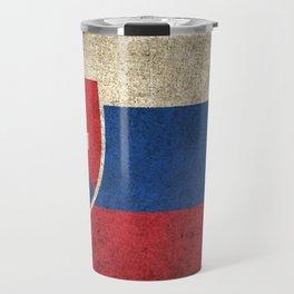 Old and Worn Distressed Vintage Flag of Slovakia Travel Mug