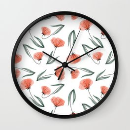 Spring Flowers Peach tossed pattern Wall Clock