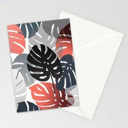Monstera Pattern color grey orange  Stationery Cards