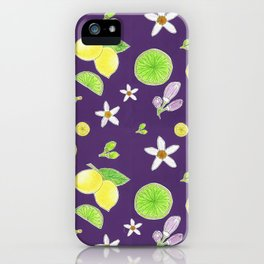 Yellow Green Lemon and Azahar Flower iPhone Case