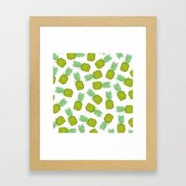 Tropical Summer Yellow Green Pineapples Fruit Framed Art Print