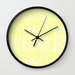 Sketchy Abstract (Light Yellow & White Pattern) Wall Clock