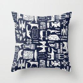 Inuit Eskimo Carvings by Nettwork2Design - Nettie Heron-Middleton Throw Pillow