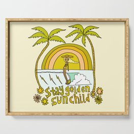 stay golden sun child //retro surf art by surfy birdy Serving Tray