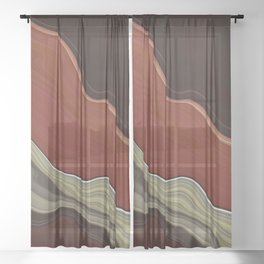 Wild Red Wood Sheer Curtain