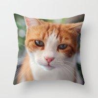 "garfield Throw Pillows featuring Garfield - a red cat by Michele ""Sonik"" Bruseghin"